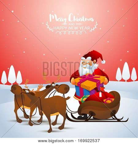 Santa Claus taking gift box from reindeer sleigh on winter background for Merry Christmas celebration.