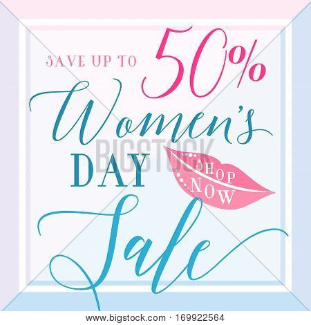 Vector illustration of stylish 8 march womens day sale background with typography lettering text girl lips for poster banner gift packaging templates