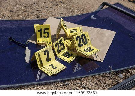 group of evidence marker number in crime scene investigation
