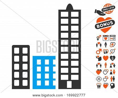 City icon with bonus marriage pictures. Vector illustration style is flat iconic elements for web design app user interfaces.
