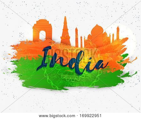 Indian Republic Day celebration background with illustration of famous monuments and flag colors brush strokes.