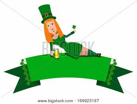 Festive Ribbon with clover and girl Saint Patrick. Woman with red hair lying on the banner. Cheerful man in the green suit with a mug of foamy beer.