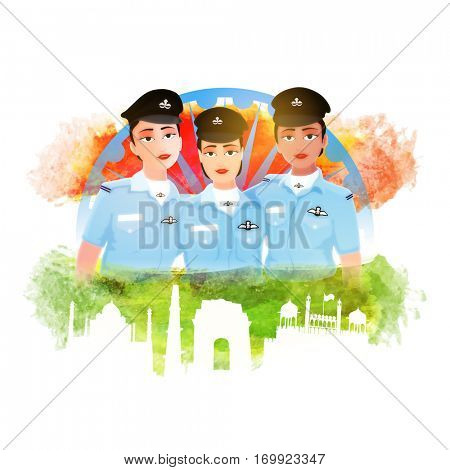 Proud of India, Creative illustration of Three Indian Women Fighter Pilots with grunge National Flag Colours, Ashoka Wheel and Historical Monuments for Happy Republic Day celebration.
