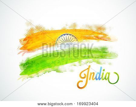 Indian Flag Colors brush strokes with Ashoka Wheel, Creative Poster, Banner design for Republic Day celebration.