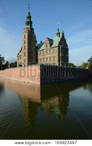 An exterior view of a castle in the city of Copenhagen