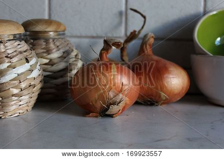 Two onion bulbs on kitchen table with pots and ceramic bowls. Onions with straw crafted pots ans ceramics in kitchen.