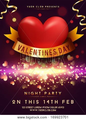 Valentine's Day Night Party celebration Template, Banner or Invitaton Card. Beautiful glowing background with hearts and golden ribbon.