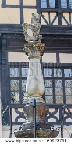 SINAIA ROMANIA - MARCH 21 2015: Bear statue detail of the castle Peles own by Regele Mihai (King Michael) of Romania now works as museum