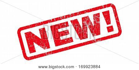 New exclamation text rubber seal stamp watermark. Caption inside rounded rectangular banner with grunge design and unclean texture. Slanted vector red ink sign on a white background.