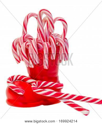 Santa Claus Red Boots, Shoes With Colored Sweet Lollipops, Candys. Saint Nicholas Boots With Present