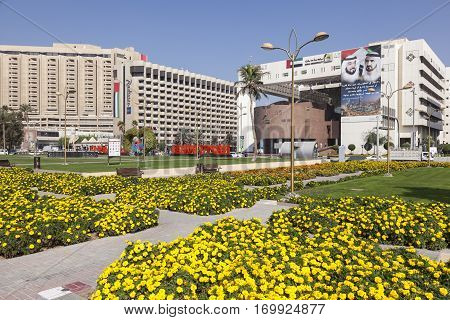 DUBAI UAE - DEC 6 2016: Flowers in the city of Dubai. The Dubai Municipality building on the right. United Arab Emirates Middle East