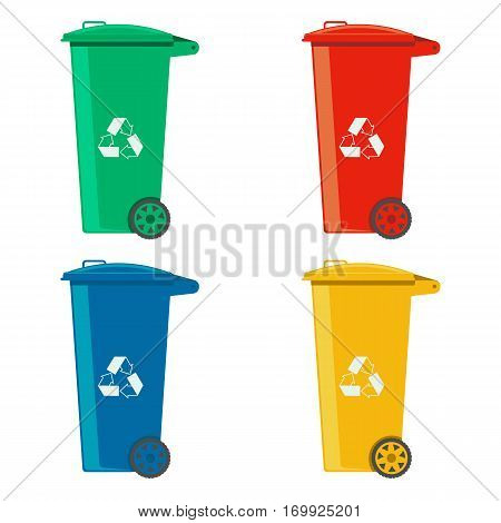 rubbish cans different colored recycle bins vector illustration isolated on a white background