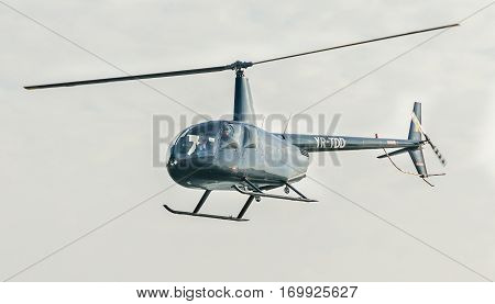 Bucharest, Romania - October 4, 2014: Aerobatic Helicopter Pilots Training In The Sky Of The City.