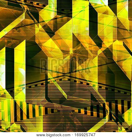 Abstract futuristic background of polygons, blocks and lines reminiscent of modern architecture. Gold, green and orange modern background of prisms and polygonal shapes