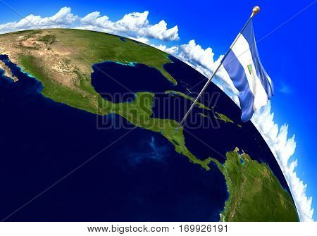 Nicaragua national flag marking the country location on world map. 3D rendering, parts of this image furnished by NASA