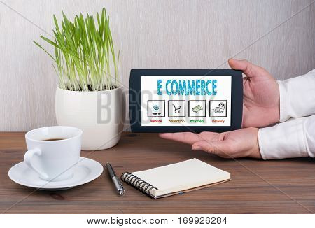 E commerce concept. Digital tablet computer in male hands.