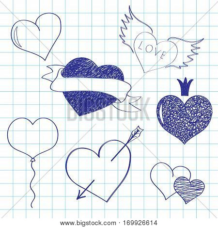 Hearts for St. Valentine's Day on a writingbook leaf, a Valentine's Day card