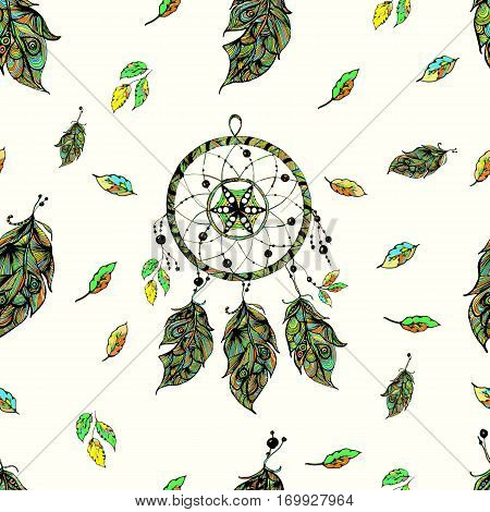 Seamless pattern Indian dream catcher. With beads, feathers. Vector image. Boho style. Sketch Bohemian style for fashion, print, fabric, textile, fabric, material, paperhumanism religion the occult