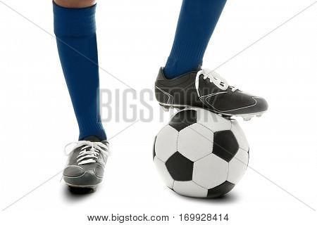 Male legs with soccer ball on white background, closeup