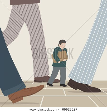 Vector illustration of a small businessman walking amongst the intimidating legs of larger businessmen