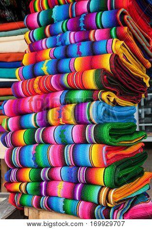 Traditional rugs at market on Cristobal de las casas , Chiapas region, Mexico.