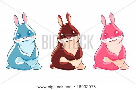 Three funny Easter Bunny. Celebration of spring. Vector illustration isolated on white background. T-shirt print, sticker. Greeting card.