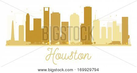 Houston City skyline golden silhouette. Vector illustration. Simple flat concept for tourism presentation, banner, placard or web site. Business travel concept. Cityscape with landmarks