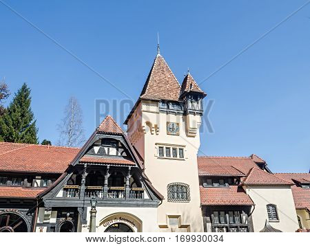 Sinaia, Romania - March 21, 2015: Detail Of The Castle
