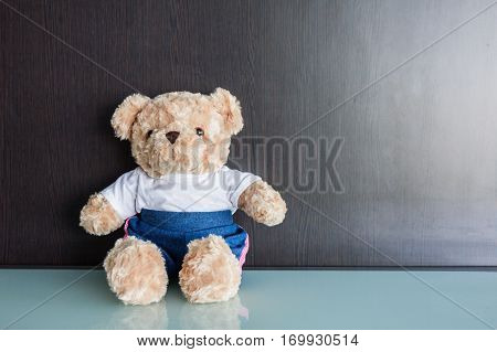 Valentines Day. Bear doll sits beside together background.