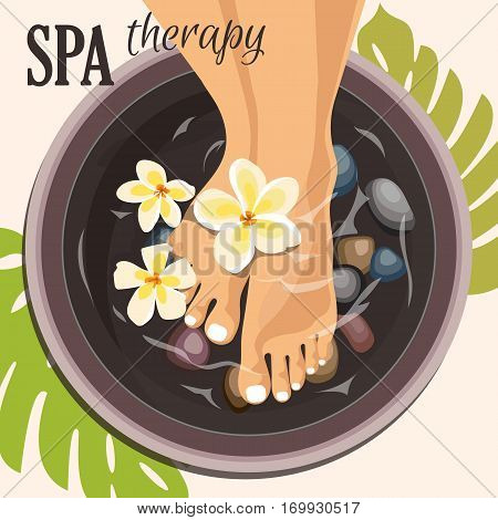 Spa pedicure female feet in spa bowl with water flowers - vector illustration