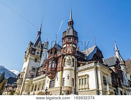 Sinaia, Romania - March 21, 2015: The Castle