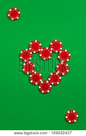 The poker chips on green background in the image of card or poker suit