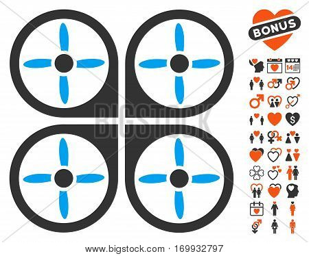 Copter pictograph with bonus marriage icon set. Vector illustration style is flat iconic symbols for web design app user interfaces.