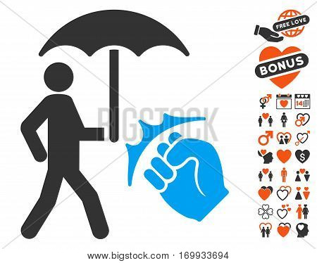Crime Coverage icon with bonus valentine pictograms. Vector illustration style is flat iconic symbols for web design app user interfaces.