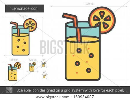 Lemonade vector line icon isolated on white background. Lemonade line icon for infographic, website or app. Scalable icon designed on a grid system.