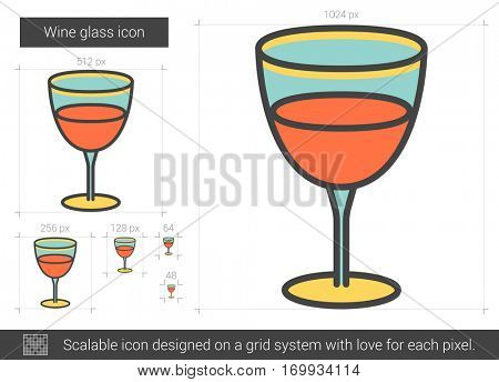 Wine glass vector line icon isolated on white background. Wine glass line icon for infographic, website or app. Scalable icon designed on a grid system.