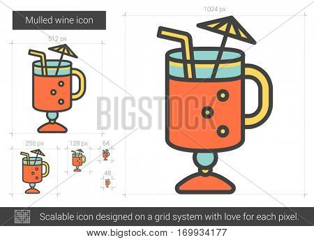 Mulled wine vector line icon isolated on white background. Mulled wine line icon for infographic, website or app. Scalable icon designed on a grid system.