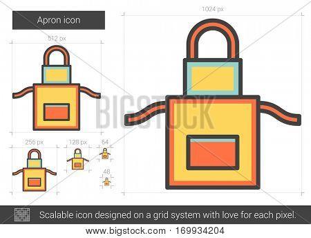 Apron vector line icon isolated on white background. Apron line icon for infographic, website or app. Scalable icon designed on a grid system.