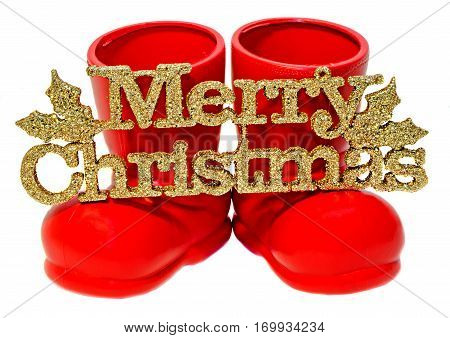 Santa Claus red boots shoes. Saint Nicholas red boots presents gifts.
