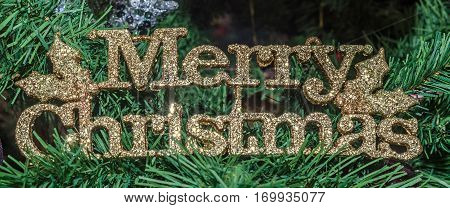 Detail Of Green Christmas (chrismas) Tree With Merry Christmas Write