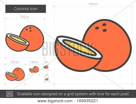Coconut vector line icon isolated on white background. Coconut line icon for infographic, website or app. Scalable icon designed on a grid system.