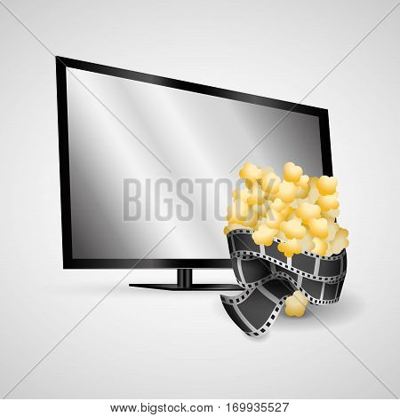 plasma tv modern film strip pop corn vector illsutration eps 10
