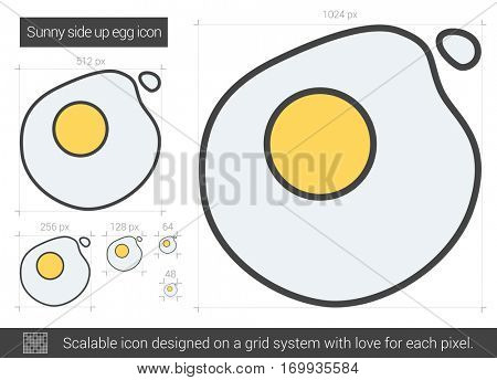 Sunny side up eggs vector line icon isolated on white background. Sunny side up eggs line icon for infographic, website or app. Scalable icon designed on a grid system.