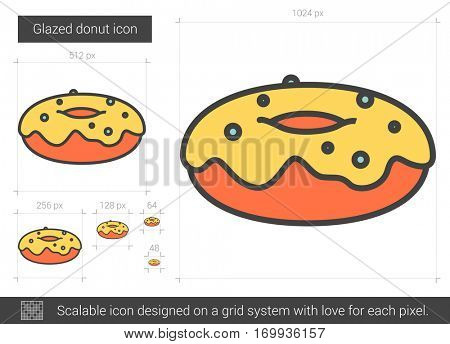 Glazed donut vector line icon isolated on white background. Glazed donut line icon for infographic, website or app. Scalable icon designed on a grid system.