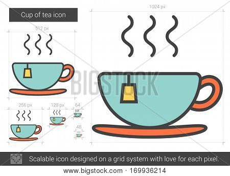 Cup of tea vector line icon isolated on white background. Cup of tea line icon for infographic, website or app. Scalable icon designed on a grid system.