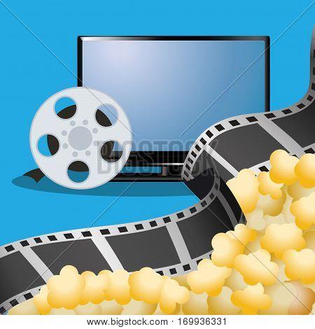 cinema tv film reel with pop corn poster vector illustration eps 10