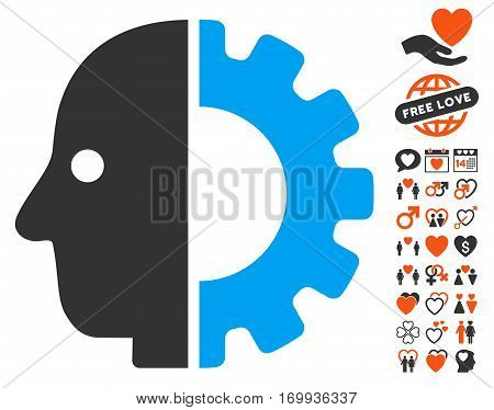 Cyborg Head pictograph with bonus decorative design elements. Vector illustration style is flat iconic elements for web design app user interfaces.