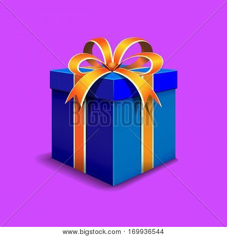 Festive gift box blue. Tied with orange ribbon with a bow on top.