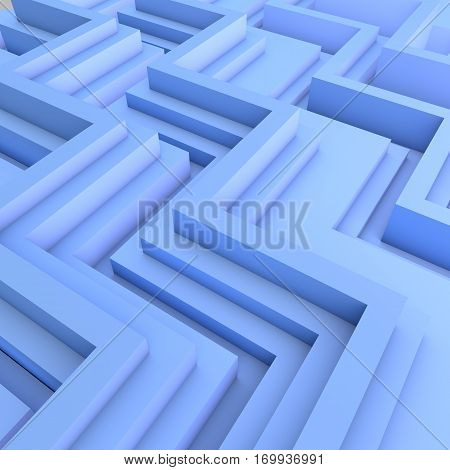 3D Geometric Abstract Background. Light Blue Color.