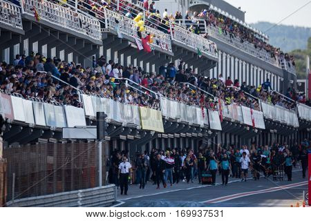 VALENCIA, SPAIN - NOV 13: Spectators during Motogp Grand Prix of the Comunidad Valencia on November 13, 2016 in Valencia, Spain.